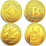 💰VALUABLE PACKAGE : Bitcoin (BTC) Ethereum (ETH) Litecoin (LTC) Dogecoin (Doge) , the color is gold. Each coin is packed in a plastic bag and packed in an acrylic coin box to ensure perfect condition upon delivery 💰PREMIUM MATERIAL : Every coin is pr...