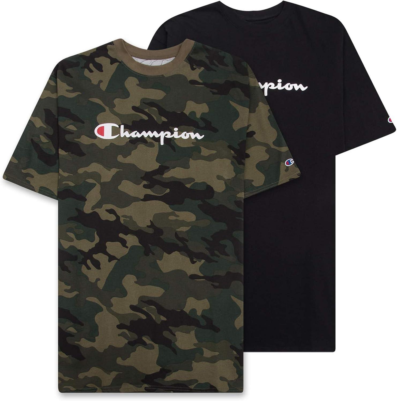 Champion Mens Big and Tall T Shirt, Crewneck Men Tees 2 Pack