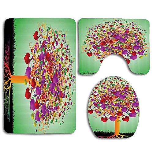 Bunter magischer Liebesbaum blühte Herz und runde Blätter und Wurzeln Lebensthema 3-teiliges Badezimmermatten-Set rutschfester Badezimmerteppich Konturmatte Toilettenmattendeckelabdeckung
