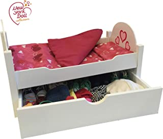 Wooden Doll Bed with Trundle Fits 18 Inch Dolls