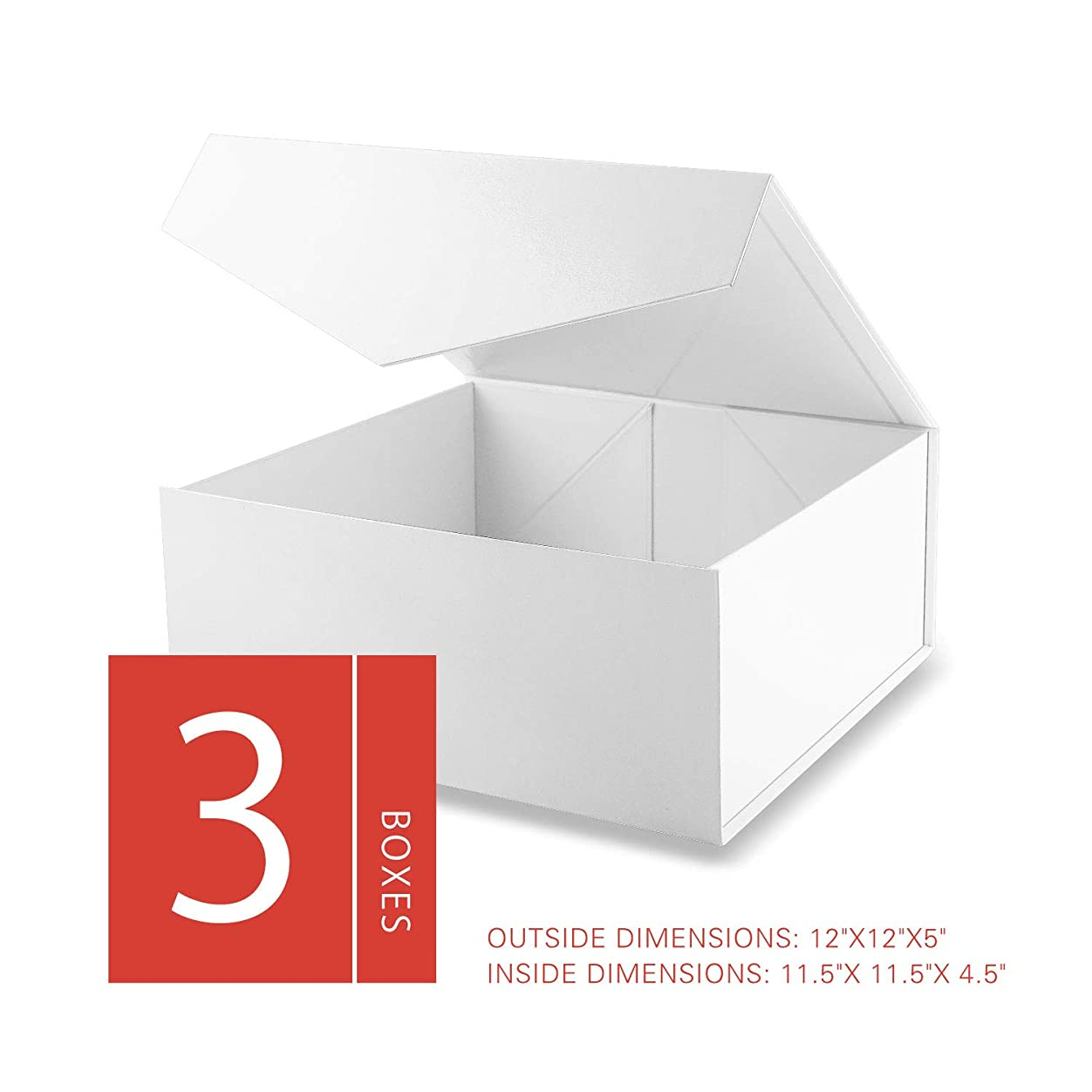 MALICPLUS Luxury Large Gift Boxes with Lids, Square 12x12x5 Inches, Bridesmaids Proposal Boxes, Sturdy Boxes, Storage Boxes Collapsible Magnetic Closure Gift Boxes (Embossing Glossy White, 3 Boxes) uoks551138063