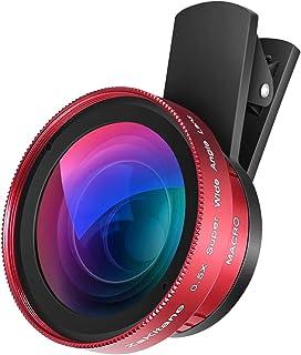 Zakitane - Objetivo gran angular de 05 x + lente macro de 15 x 2 en 1 kit de lentes de clip para cámara móvil para iPhone XS MAX/X/8/7/6S/6S Huawei Samsung S8 Plus HTC mayoría de smartphones