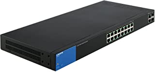 Linksys Business LGS318P 16-Port Gigabit Poe+ (125W) Smart Managed Switch with 2 Gigabit and 2 SFP Ports, Black
