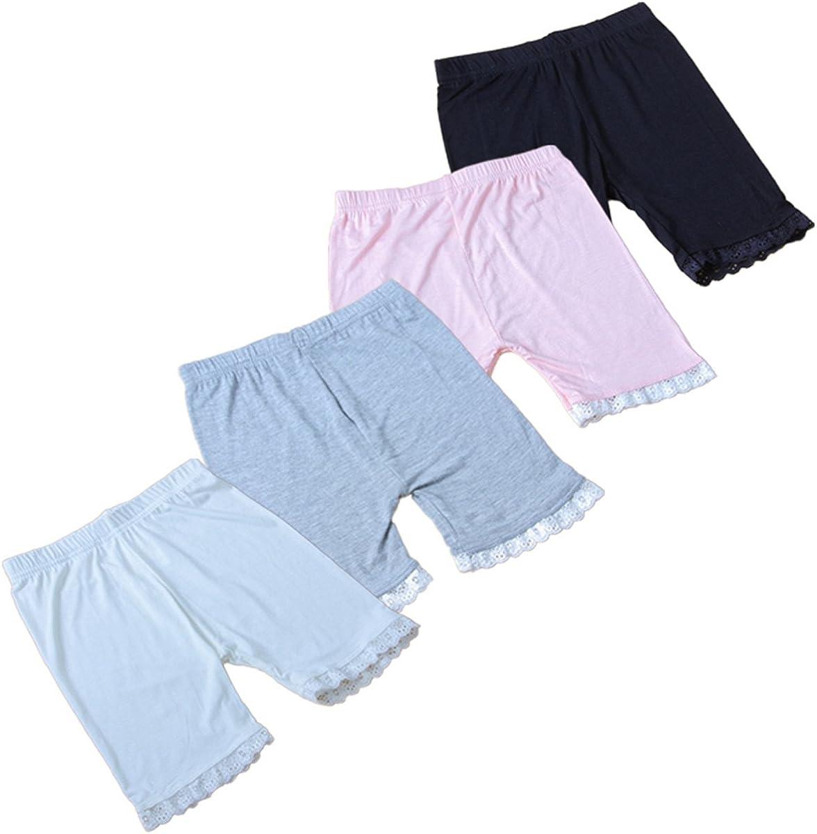 JELEUON 4Pcs Little Girls Kids Slim Elastic Lace Underwear Safety Short Panties Dancewear