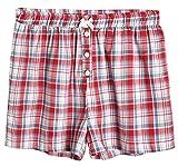Latuza Women's Sleepwear Cotton Plaid Pajama Boxer Shorts XL Red