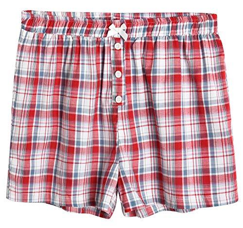 Latuza Damen Nachtwäsche Baumwolle Plaid Pyjama Boxershorts - Rot - Medium