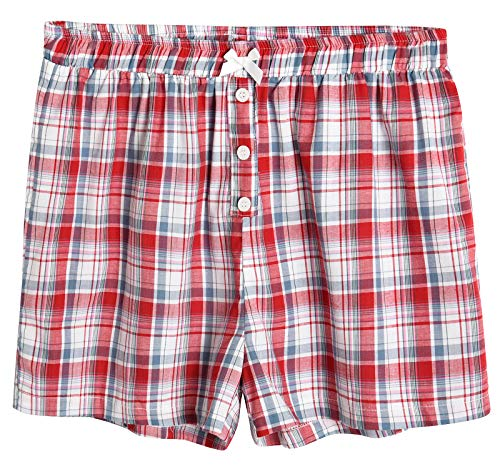 Latuza Women's Sleepwear Cotton Plaid Pajama Boxer Shorts 2X Red