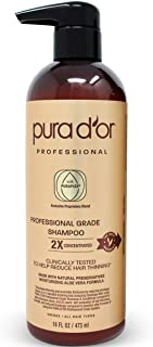 PURA D'OR Professional Grade Anti-Hair Thinning Biotin Shampoo with 2X Concentrated Actives - Sulfate Free, Natural Ingredients - Clinically Tested, Men & Women, 16 Fl Oz (Packaging may vary)