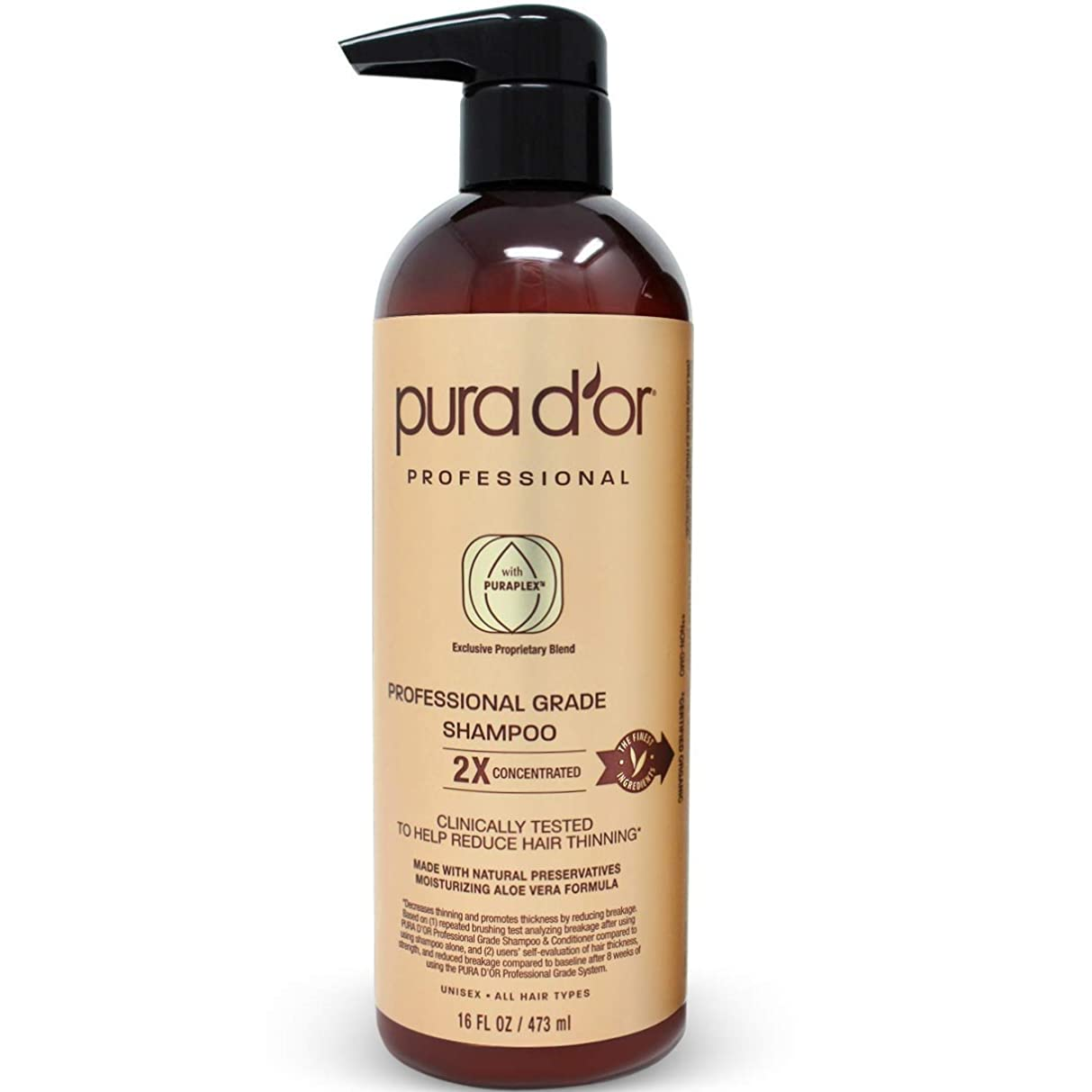 どれか羊飼い知人PURA D'OR プロフェッショナル品質 薄毛対策 2X 濃縮 有効成分 効果を高める 天然成分 臨床試験済み、硫酸塩フリー、男性 & 女性、473 ml(16 液量オンス) シャンプー