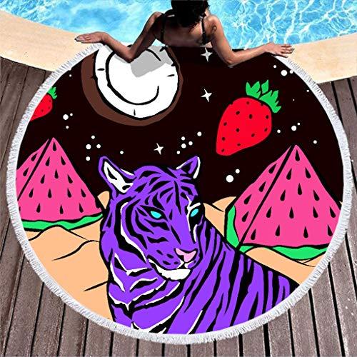 Toalla de playa grande, redonda, tigre, sandía, fresa, microfibra, toalla de playa, toalla de baño, alfombra de pared, esterilla de yoga, manta de picnic, manta de playa, 150 cm
