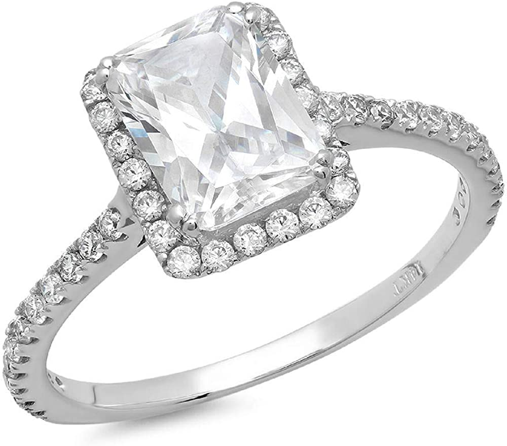 1.85ct Brilliant Emerald Cut Solitaire Accent Genuine Flawless White Lab Created Sapphire Gemstone Engagement Promise Anniversary Bridal Wedding Ring Solid 18K White Gold