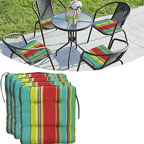 Set of 4 Striped Chair Pads,Chair Pads tie-on Square Seat Cushions,40cm Square Seat Cushions,Striped Cushion Covers for Dining Chairs,Garden Chair Cushions Set of 4 Waterproof,Memory...
