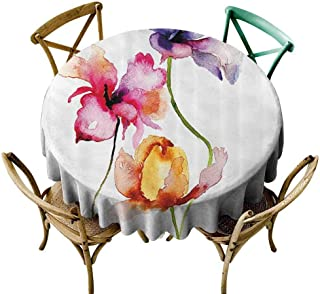 W Machine Sky Circular Table Cover Floral,Vibrant Colors Summer Flowers Lily Blooms in Watercolor Paintbrush Artwork,Purple Marigold Pink Diameter 54