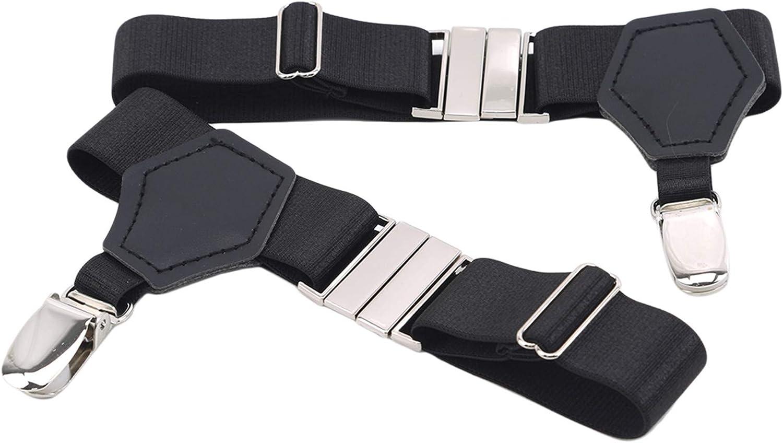 Dollandd Men Adjustable Sock Belt Suspender with Non-Slip Clips Socks Garters,Black DJWJ-J,14.570.98 inch