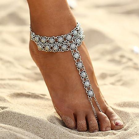 Simsly - Cavigliera da spiaggia regolabile con decorazione, per donne e ragazze (argento/1 pezzo)