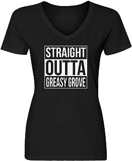 Womens Straight Outta Greasy Grove Blank V-Neck T-Shirt
