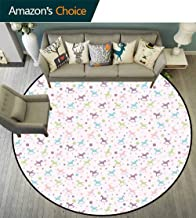 Toy Horse Round Rug Easy to Clean,Rocking Horse Motif Colorful Composition Dotted Background Children Plaything Room's Decor,Multicolor,D-43