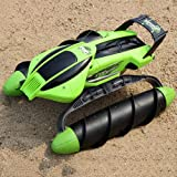 Tletiy Waterproof Land Water 2 in 1 RC Terrain Twister Boat 8 Channels 4WD 2.4G Remote Control Tank Vehicle Landing Ship Large Waterway Charging Radio Remote Control Ship for Boy Girl Adult Gift