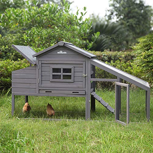 Wooden Chicken Coop , Large Outdoor Hen House with Nest Box Poultry Cage, Rabbit Hutch - Waterproof UV Panel 69in