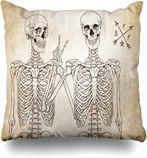 Ahawoso Throw Pillow Cover Day Body Human Skeletons Best Friends Posing Over Skull Holidays Vintage Anatomy Bones Character Drawing Pillowcase Square 18 x 18 Inches Home Decor Cushion Case