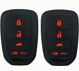 2Pcs Coolbestda Silicone Key Fob Skin Remote Cover Case Keyless Entry Holder Protector for Honda Accord Civic Crosstour CR-V HR-V MLBHLIK6-1TA (Only Fit Straight key fob, Smart Key Fob Not Fit)