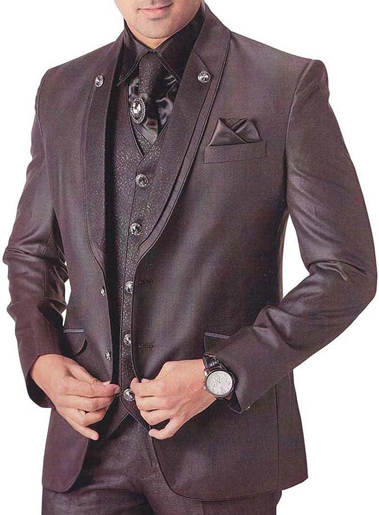 INMONARCH Mens Purple Wine 7 pc Tuxedo Suit Glamorous Look TX728