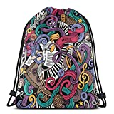 Jiger Drawstring Tote Bag Gym Bags Storage Backpack, Music Themed Hand Drawn Abstract Instruments Microphone Drums Keyboard Stradivarius,Very Strong Premium Quality Gym Bag for Adults & Children