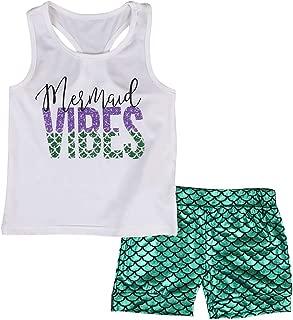 2Pcs/Set Toddler Baby Girl Mermaid Outfit Sleeveless Tank Tops+Mermaid Shorts Set Summer Clothes