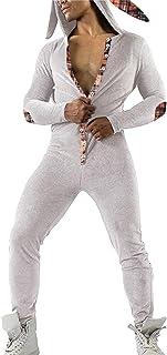 Pijama Hombre Entero de Una Pieza, Pijama Sexy Hombre Invierno Capucha, Pijama Mono Forro Polar, Regalos para Hombres y Adolescentes——Orejas de Conejo