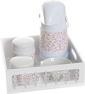 Kit Higiene com Porcelanas e Capa Borboleta, Quarto Bebê Menina, Potinho de Mel, Rosa/ Tra