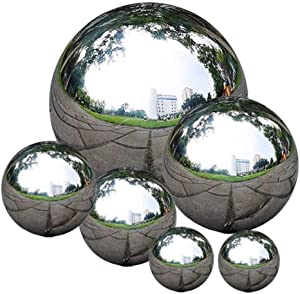 EElabper Stainless Steel Gazing Ball Seamless Gazing Globe Mirror Polished Hollow Ball Reflective Garden Sphere 6 PCS