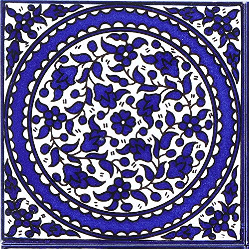 Casa Moro Orientalische Fliese handbemalte Keramikfliese Isa-11 14,8 x 14,8 cm Kunsthandwerk aus Palästina Wandfliese für schöne Küche Dusche Badezimmer Dekoration   FL8311