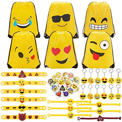 Konsait 70 Pack Emoji Turnbeutel, Emoji Schlüsselanhänger Tasche anhänger, Emoji Armbänder, Große Emoji Tattoos Aufkleber für Kindergeburtstag Gastgeschenk Party Mitgebsel