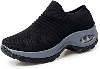 XMWEALTHY Women's Walking Shoes Breathable Mesh Slip On Athletic Shoes Fashion Sneakers Running Loafers