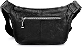 I'll NEVER BE HER Genuine Leather Men'S Fanny Pack Handbag Waist Bag For Money Phone Fashion Casual Adjustable Strap Belt Bag,Black