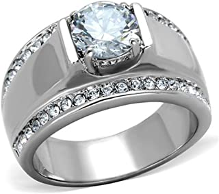 Marimor Jewelry Men's 2.25 CT Round Cut Cubic Zirconia, Silver Stainless Steel Ring Sizes 8-13