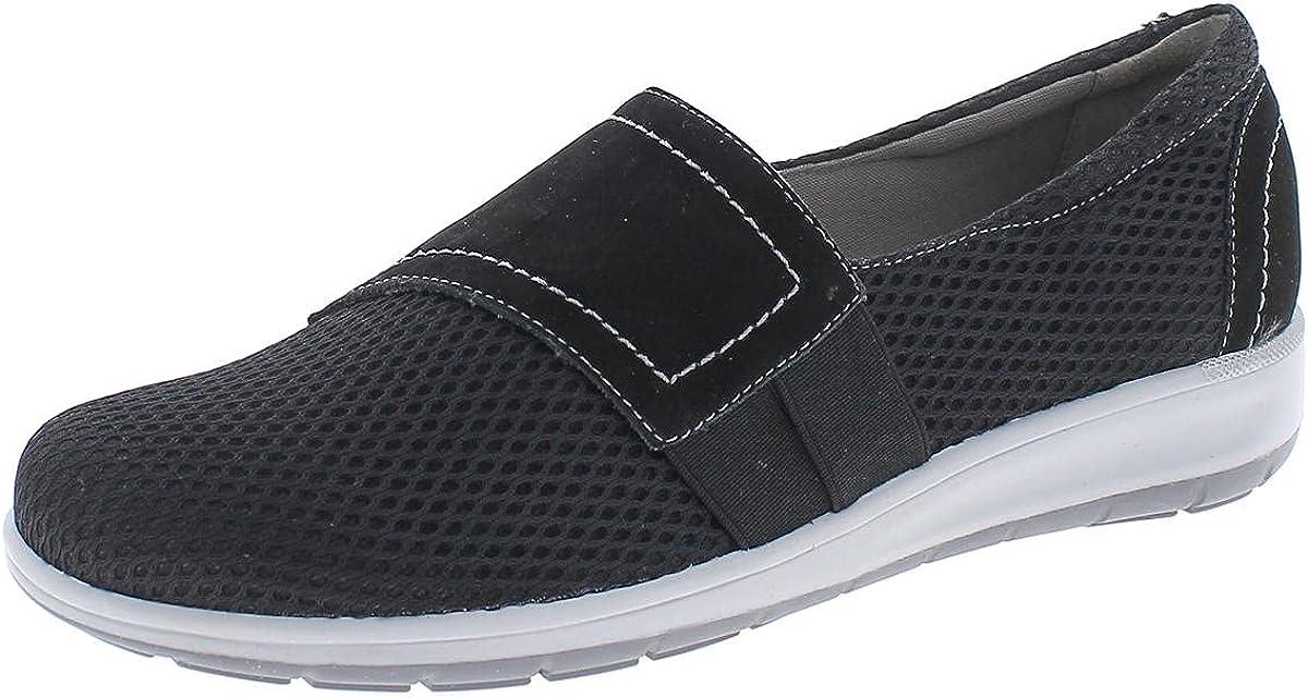 Walking Cradles Womens OBI Leather Casual Slip-On Sneakers Black 7 Medium (B,M)
