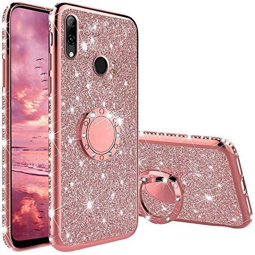 Hülle Kompatibel mit Huawei P Smart 2019/Honor 10 Lite, Glitzer Handyhülle mit Ring 360 Grad Ständer, Diamant Glanz Bling Stylischer Mädchen Hülle Ultra-Slim Stoßfeste Anti-Rutsch Schutzhülle - Pink