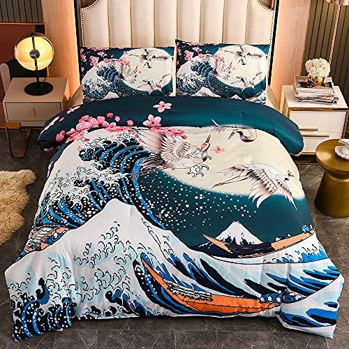 Btargot Japanese Style Comforter Set Full Size,Cherry Blossoms Crane Printed Decor Bedding Set for Kids Girls Women Bedroom Decor,Sea Waves Down Comforter Traditional Retro Theme with 2 Pillowcases
