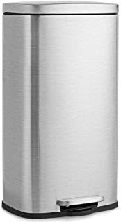 Goplus 30 Liter / 8 Gallon Stainless Steel Step Trash Can, Rectangular Garbage Bin with Inner Buckets and Hinged Lids, Suit for Kitchen Office Home Use
