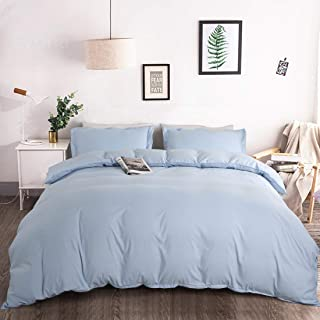 BALICHUN Duvet Cover Set King Size Premium with Zipper Closure Hotel Quality Wrinkle and Fade Resistant Ultra Soft -3 Piece-1 Microfiber Duvet Cover Matching 2 Pillow Shams (Lake Blue, Twin)