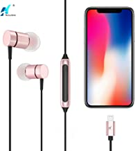 NASUDAKE A1 Lightning Earbuds Earphones Headphones Apple MFi Certified Siri Active in-Ear w/Mic & Remote Control iPhone 7 Headphones for iPhone 11 Pro Max X/XS/XS Max/XR (Rose Gold)