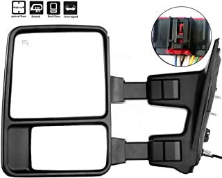 Towing Mirrors, ECCPP Left Driver Side Exterior Automotive Mirrors with Power Operation Heated Turn Signal Convex Glass Manual Folding Telescoping fit Ford F-250 F-350 F-450 F-550 Super Duty 2008-2016