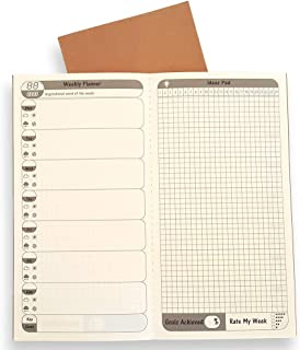 Travelers Notebook Inserts - 2 Pack, 26 Weeks Per Book, Free Diary Weekly Planner Refills with 6 Monthly Summary, to Do List Calendar for Standard Regular TN Journal Size 8.5