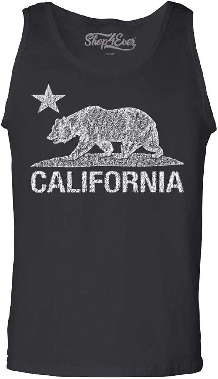 shop4ever Max 84% OFF California Distressed Complete Free Shipping White Bear Men's Top Tank Cali T