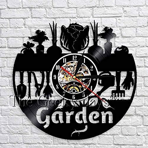 fdgdfgd Negro Retro CD Reloj jardín Pared Art Deco Reloj diseño Moderno Vinilo Pared decoración Naturaleza | Decoración del hogar única