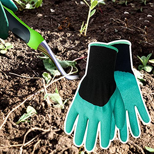 Taissdory Dandelion Weeder Tool with Ergonomic Handle with Gardening Gloves Stainless Steel Garden Weed Puller Removal for Planting Weeding Flower and Vegetable Care in Lawn Garden Yard (Green)