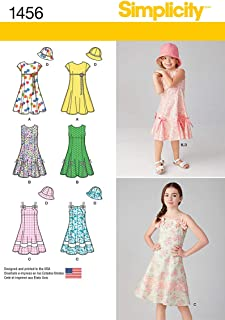 Simplicity 1456 Girl's Dress with Bodice Variations and Hat Sewing Patterns, Sizes 3-6