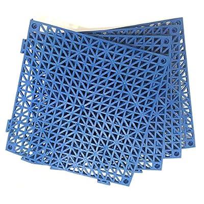 "4pcs Modular Interlocking Cushion 11.5"" x 11.5"" Floor Tile Mat Mats Drain Pool Shower Home Indoor/Outdoor (Blue)"