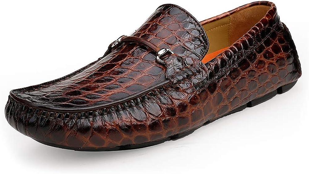 ERGGU Max 40% OFF Men's 2021 model Leather Driving Moccasin S Crocodile Printed Slip-on